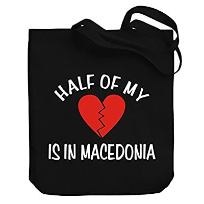 cheap Teeburon HALF OF MY heart is in Macedonia Canvas Tote Bag