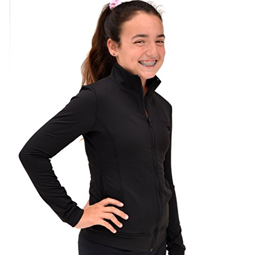Stretch is Comfort Girl's Cotton Warm Up Jacket Black (Cotton Stretch Jacket)