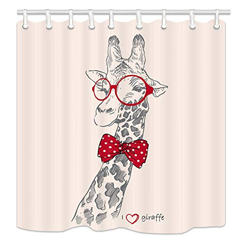 NYMB Funny African Wildlife Animals Giraffe Shower Curtains, Cartoon Hipster Giraffe Bow Wear Glasses for Kids, Polyester Fabric Giraffe fShower Curtain Set Fantastic Decorations Bath Curtain,69X70in