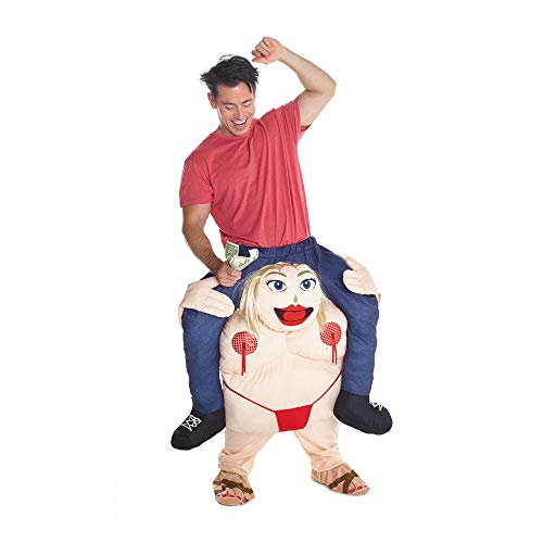 Piggyback Ride Me Ride On Piggy Back Costume with Self Fill Legs Halloween Party (Fat Stripper Carry me)]()
