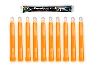 "Cyalume ChemLight Military Grade Chemical Light Sticks, Orange, Ultra High Intensity, 6"" Long, 5 Minute Duration (Pack of 10)"