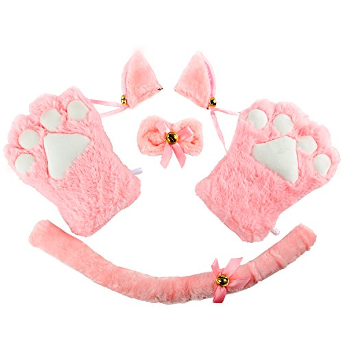 [Acecharming 4pcs Cat Cosplay Fancy Costume Neko Anime Costume Lolita Gothic Set (Pink)] (Girl Anime Costumes)