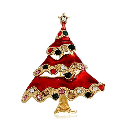 (YOUYUZU Christmas Tree Brooches and Pins Vintage Austrian Crystal Brooch for Women)