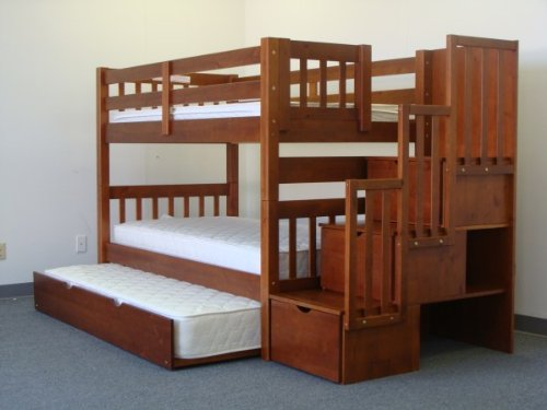 bedz king twin over twin stairway bunk bed with twin trundle espresso buy online in uae. Black Bedroom Furniture Sets. Home Design Ideas