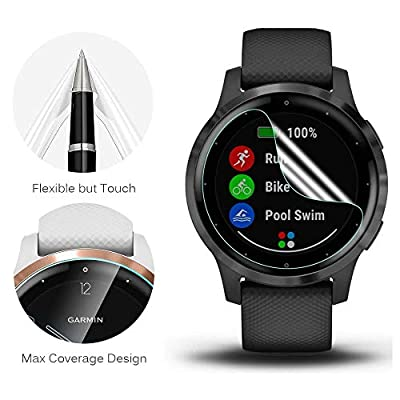 [10+3 Pack]Compatible with Garmin Vivoactive 4S Screen Protector Film with Charger Port Protector, Silicone dust Plug Black + HD Clear Anti-Scratch Screen Protector Film for Garmin Vivoactive 4S 40mm