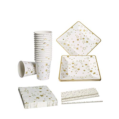 Vland Party Supplies Service for 16 Guests - Disposable Tableware Set by Gold Star pattern - Including 16 Plates, 16 Cups, 20 Napkins, and 20 Straws