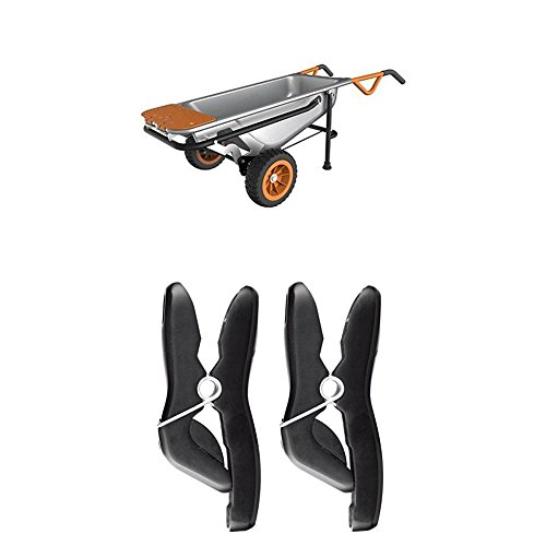 WORX WG050 Aerocart Multifunction Wheelbarrow, Dolly and Cart with WA0235 Stick/Tool Holders by Worx