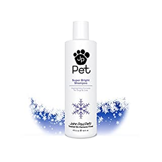 John Paul Pet Super Bright Shampoo for Dogs and Cats, Highlighting Formula Safely Whitens and Brightens Fur, 16-Ounce