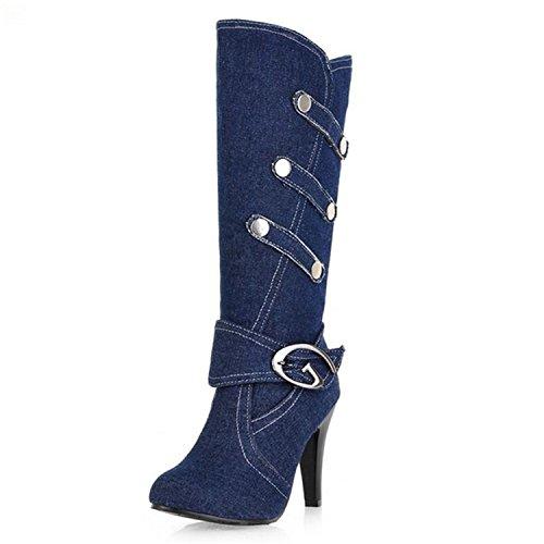Toe Denim Knee Size Black Platform Large Autumn Women Buckle Decoration High Spring Pointed Metal Kenavinca Boots Boots High Heels Strap w1aXxYqd