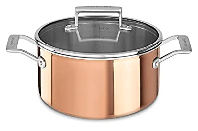 KitchenAid KC2P60LCCP Tri-Ply Copper 6 quart Low Casserole with Lid - Satin Copper, Medium