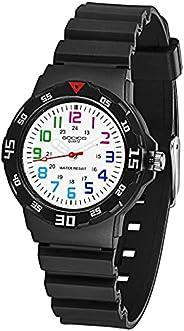 SOCICO Children's Waterproof Teaching Analog Soft Band Wrist Watch-for