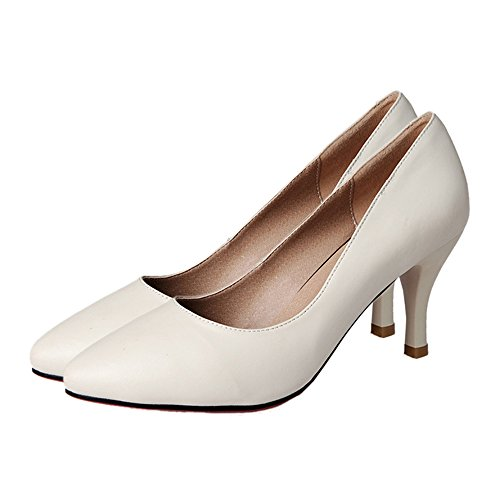 white Heel Shoes 39 cut Leather Women Low High OL qxOwUnn