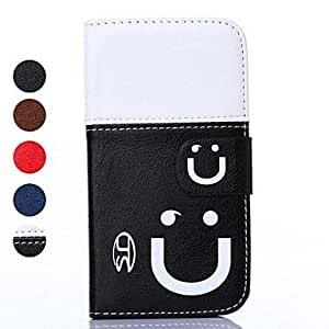 SJT Smiling Face Pattern Full Body Case with Card Slot for Samsung Galaxy S5 Mini , Black-white