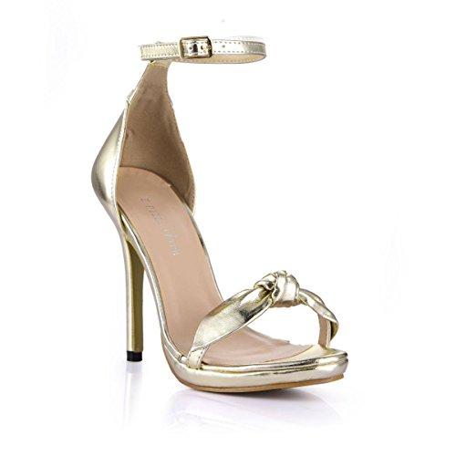12CM Best mujer PU EU37 zapatos hebilla alta de Sandalias de diamante imitación oro para 4U® Suela de Una Premium caucho de Tacones redonda Punta de de metal verano de vq0vXr