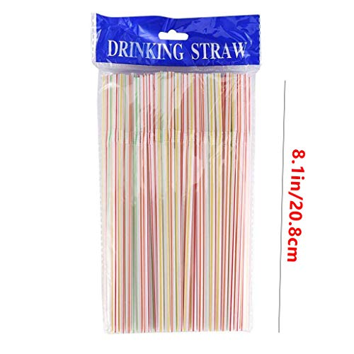 50/100/600 pcs Smoothie Straws, Plastic Milkshake Straws Disposable Colorful Material Straws Juice Drink Milk Tea Straw, 2021 New (A#600 pcs)