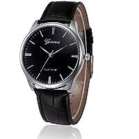 Fashion watch men Leather quartz wristwatch Retro Design Leather Band Analog Alloy Quartz Wrist Watch (Black)