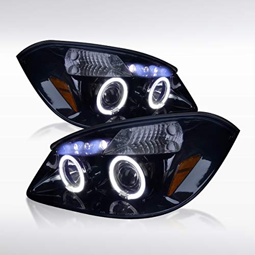 Autozensation For Chevy Cobalt G5 [Glossy Black] LED Halo Projector Headlights Pair