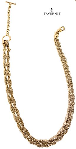 10-IN-1 Interchangeable VEST CHAIN Fob for Pocket Watches and Money Clip Chains (Gold Rope Chain)