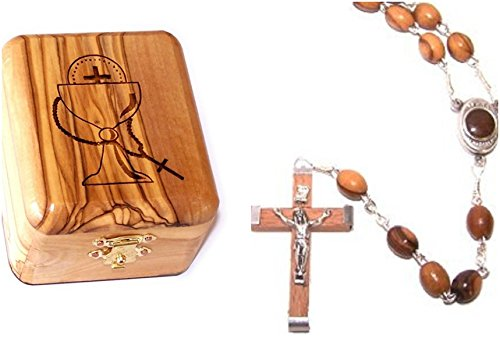 Wood Rosary Box - Bethlehem Gifts TM Olive Wood First Communion Jewelry Box with Rosary Set by (Soil Wooden Crucifix)