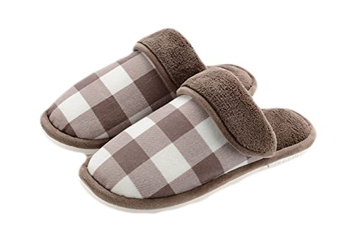 Auspicious beginning Adult Couple Indoor Closed toe Shoes Warm Lightweight Fleece Bedroom Slip-on Slipper Brown HmEUwk