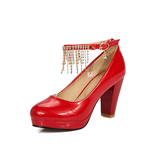 AmoonyFashion Womens Buckle Pu Round Closed Toe High Heels Solid Pumps-Shoes Red 0F5P50G