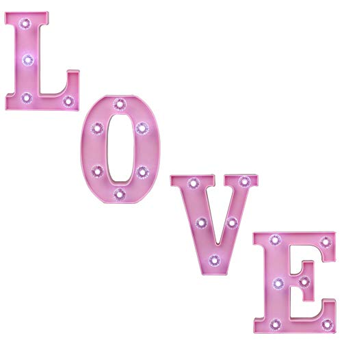 Pooqla Decorative Illuminated Marquee Love Word Sign with Diamond Light Bulb (Pink Color 6.38'' Tall) - Lighted Letter Words and Signs for Home Bedroom Baby Shower Nursery Room Table Wall Decor – Love by Pooqla