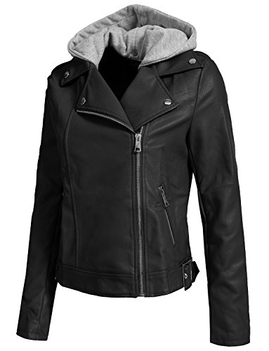 ted Faux Leather Zip Up Moto Jacket With Hoodie ()