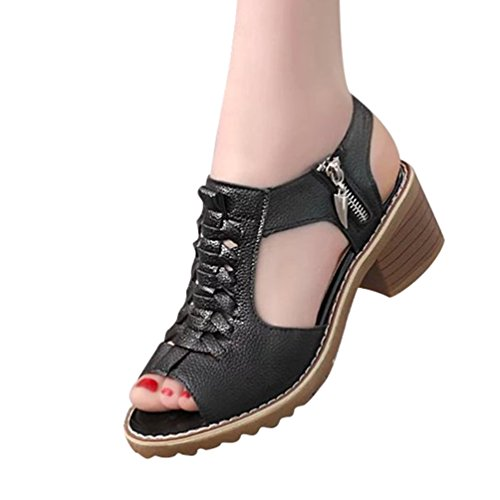 with Black Peep Hollow Zipper Sandals Women's Toe Out Shoes Summer Heel Jitong Slingback for Block pw1Sn7