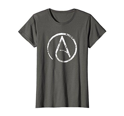 Womens Distressed Atheism, Atheist Symbol T Shirt. XL ()