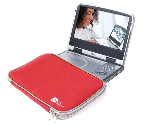 DURAGADGET Red Water Resistant Portable DVD Player Case With Soft Padded Lining For Mustek MP83 & MVP732 (Portable Dvd Player Kid Proof)
