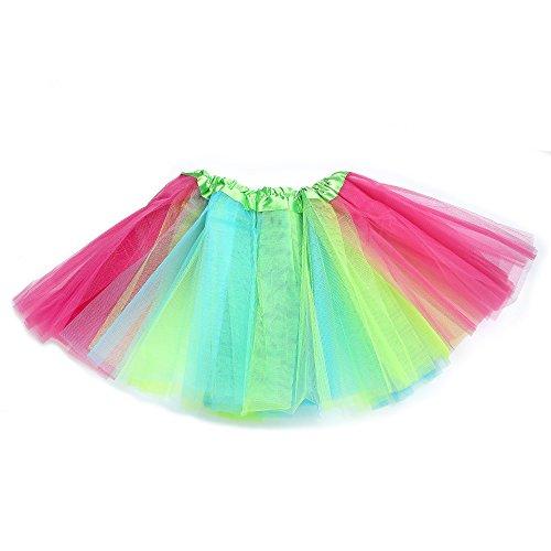 "Anleolife 12"" /8 Colors Rainbow Tutu Skirt Baby Girls Fluffy Birthday Tutu Dress Girls Princess Ballet Dance Tutu Dress (red blue green wispy)"