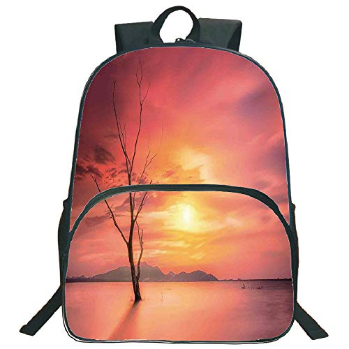 """Price comparison product image Mystic House Decor 3D Print 16"""" Backpacks, Lonely Dead Tree Forest Hills And River under Dramatic Sky Sunrise View, 3th 4th 5th Grade School Bookbags Travel Laptop Daypack Bag Purse, for Kids Teens, Yello"""