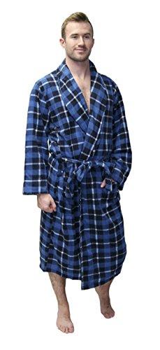 - Blue Plaid Fleece Robe Blue One Size