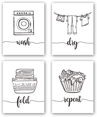 Hpniub Funny Laundry Quotes Art Prints Set Of 4 8 X10 Laundry Saying Wash Dry Fold Repeat Canvas Poster Modern Minimalist Doodle Painting For Laundry Room Bathroom Decor No Frame Amazon Sg