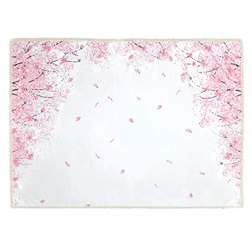 Wewoch Decorative Cherry Blossom Floral Print Polyester Rectangle Tablecloth Waterproof Fabric Lace Table Cloth, Table Cover for Dining Room and Party (60x104­-Inch)