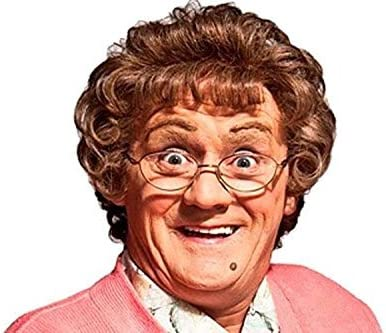 ** BROWN MRS MOP WIG  ONE SIZE  ADULT FANCY DRESS NEW ** GRANNY MRS BROWN