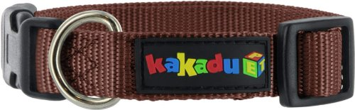 Kakadu Pet Adjustable Nylon Dog Collar, 16 to 24-Inch, Brown