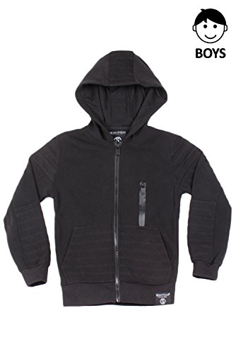 JC DISTRO Boys Hipster Hip Hop Quilted Fleece Zip-Up W/Zipper Detail Black Hoodie XL by JC DISTRO