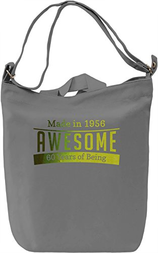 60 Years Of Being Awesome Borsa Giornaliera Canvas Canvas Day Bag| 100% Premium Cotton Canvas| DTG Printing|