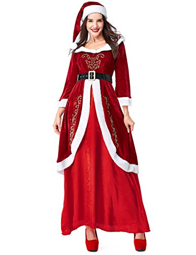 Colorful House Women's Mrs. Santa Claus Costume, Plus Size Santa Helper Dresses With Hats(Medium) -