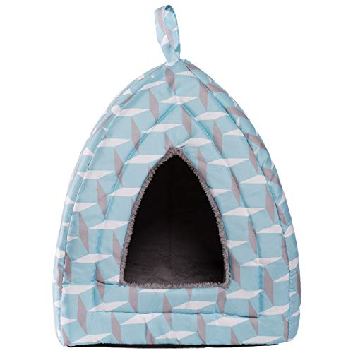 Hollypet Self-Warming 2 in 1 Foldable Comfortable Triangle Cat Bed Tent House, Diamond
