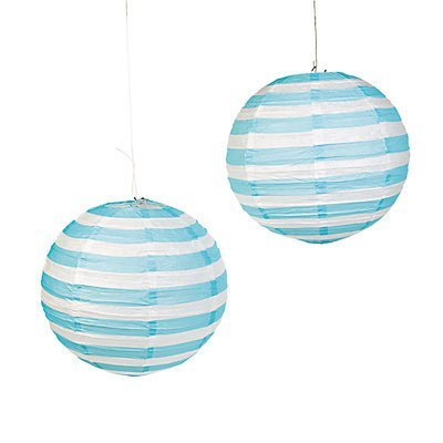 Light Blue Striped Paper Lantern - 12