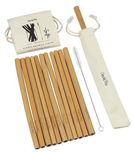Dom & Vita Organic Reusable Bamboo Drinking Straws |+Cleaning Brush + Single Straw Holder + Cotton Storage Bag | 8 Inches Long | Steel, Silicon, Paper & Plastic Kids Straws Alternative| BPA Free (12)