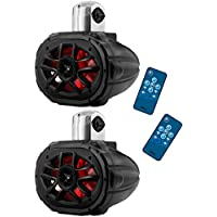 2) Boss MRWT69RGB 6x9 1200W 4-Way Marine Boat WakeTower LED RGB Speakers Black