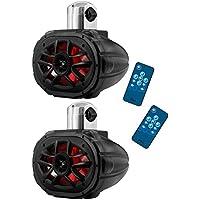 2) Boss MRWT69RGB 6x9 1200W 4-Way Marine Boat WakeTower LED RGB Speakers Black