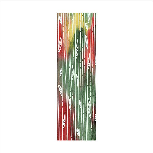 (Decorative Window Film,No Glue Frosted Privacy Film,Stained Glass Door Film,Doodle Style Leaves on Stems Grunge Motley Backdrop Dirty Look Exotic Decorative,for Home & Office,23.6In. by 78.7In Jade)