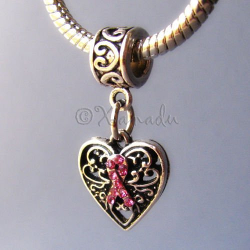 OutletBestSelling Pendants Beads Bracelet Breast Cancer Awareness Pink Ribbon Charm - Large Hole European Charm