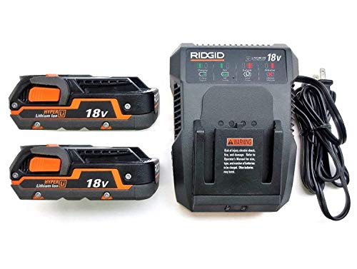 Ridgid 18 Volt Dual Chemistry Battery Charger R86092 & (2) Batteries R840085 (Renewed) (Ridgid Battery Charger)