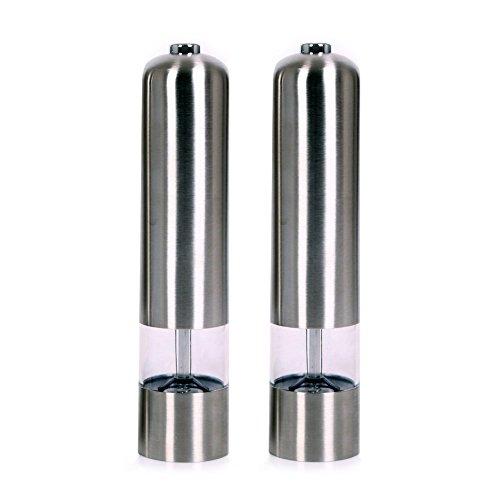 Fastnova Adjustable Ceramic Rotor Salt and Pepper Grinder, Electric Dome Brushed Stainless Steel Pepper Mill and Salt Mill, Set of ()
