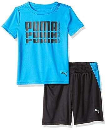 PUMA Toddler Boys' T-Shirt & Short Set, Indigo Bunting, 2T